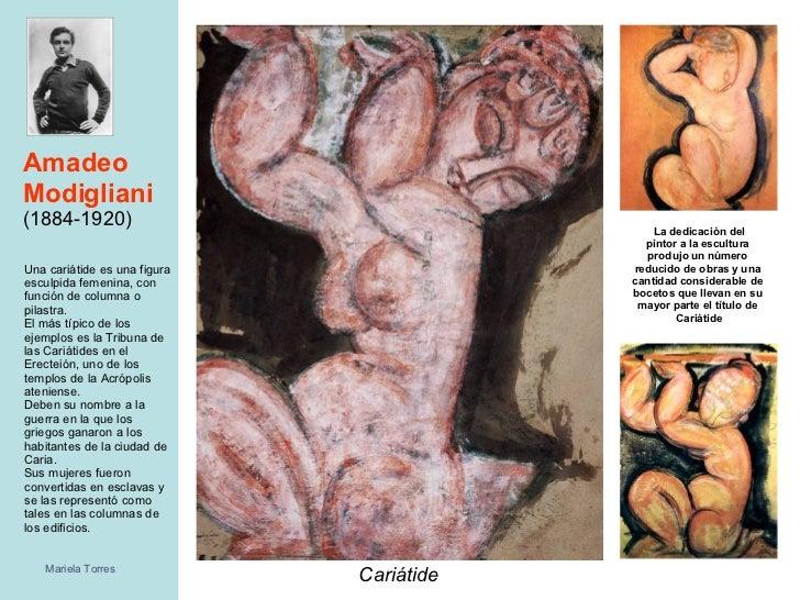 Amadeo Modigliani   (1884-1920) <ul><li>Cariátide </li></ul>Una cariátide es una figura esculpida femenina, con función de...