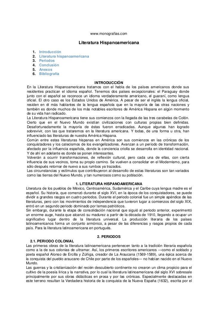 www.monografias.com                                  Literatura Hispanoamericana    1.   Introducción    2.   Literatura h...