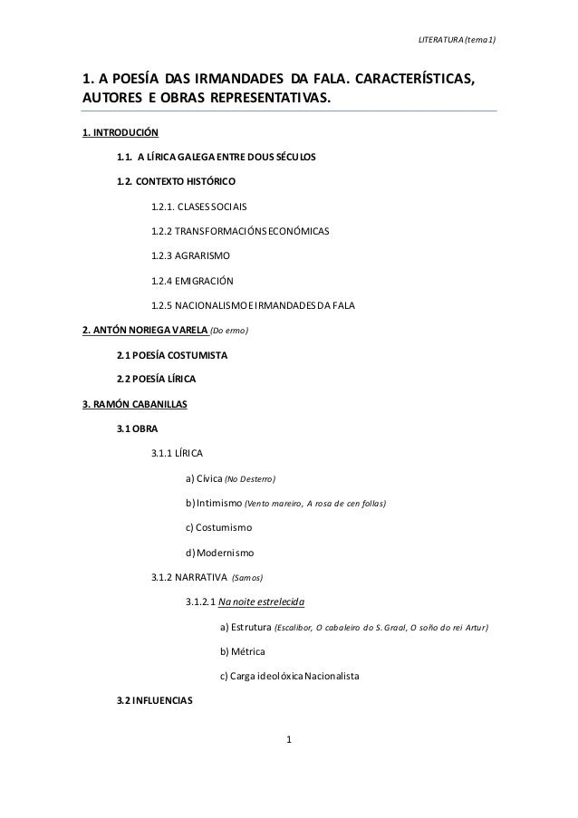 LITERATURA (tema 1) 1 1. A POESÍA DAS IRMANDADES DA FALA. CARACTERÍSTICAS, AUTORES E OBRAS REPRESENTATIVAS. 1. INTRODUCIÓN...