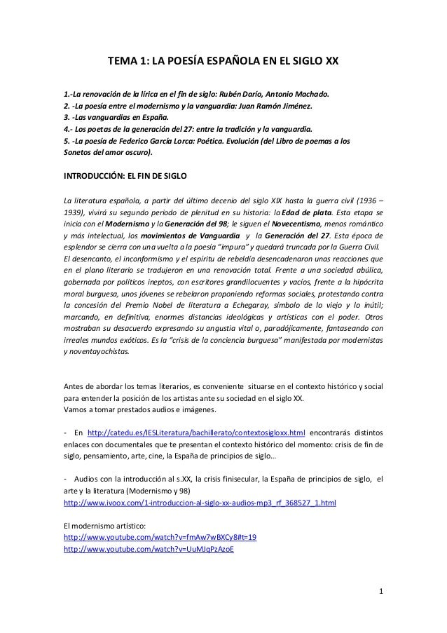 1 TEMA 1: LA POESÍA ESPAÑOLA EN EL SIGLO XX 1.‐La renovación de la lírica en el fin de siglo: Rubén Darío, Antonio Machado...