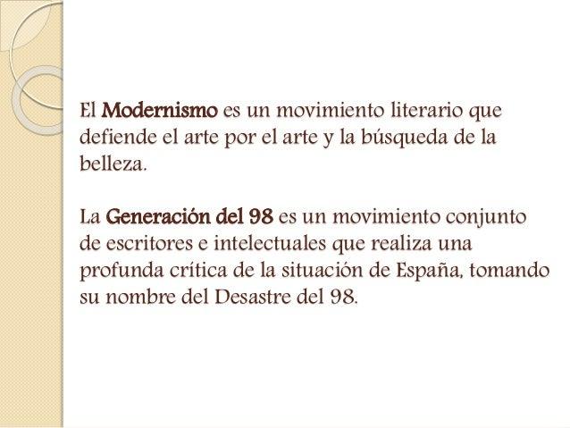 LITERATURA: EL MODERNISMO Y LA GENERACIÓN DEL 98 Slide 2