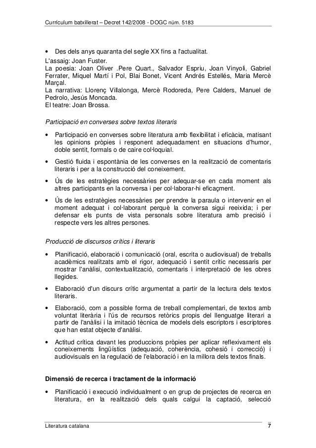 Currículum batxillerat – Decret 142/2008 - DOGC núm. 5183  · Des dels anys quaranta del segle XX fins a l'actualitat.  L'a...