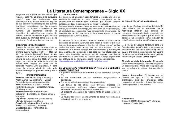 La Literatura Contemporánea – Siglo XXSurge de una ruptura con los valores que                LA NOVELA:regían el siglo XX...