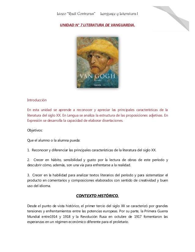 """Liceo """"Raúl Contreras"""" Lenguaje y Literatura I 1 UNIDAD N° 7 LITERATURA DE VANGUARDIA. Introducción En esta unidad se apre..."""