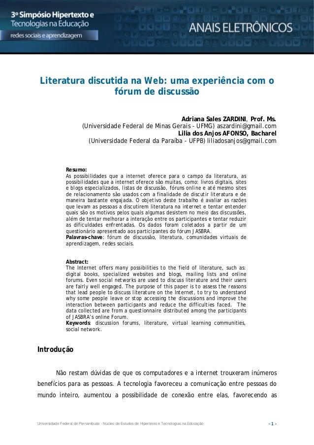 Literatura discutida na Web: uma experiência com o                  fórum de discussão                                    ...