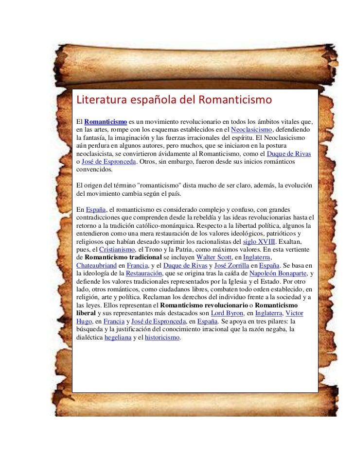Literatura española del RomanticismoEl Romanticismo es un movimiento revolucionario en todos los ámbitos vitales que,en la...