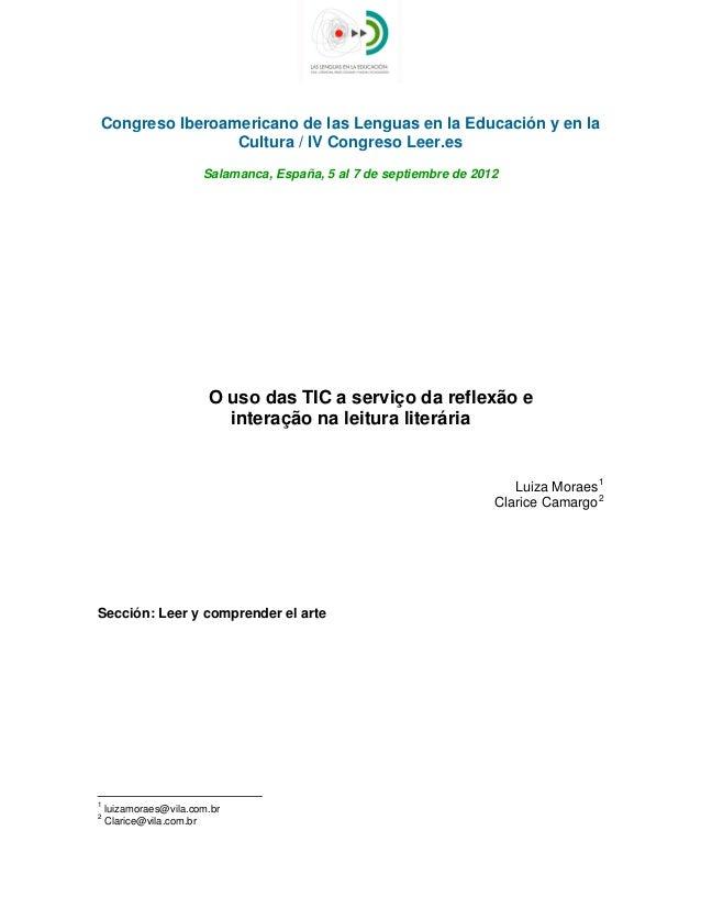 Congreso Iberoamericano de las Lenguas en la Educación y en la Cultura / IV Congreso Leer.es Salamanca, España, 5 al 7 d...