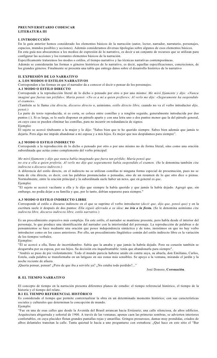 PREUNIVERSITARIO CODESCARLITERATURA IIII. INTRODUCCIÓNEn la guía anterior hemos considerado los elementos básicos de la na...