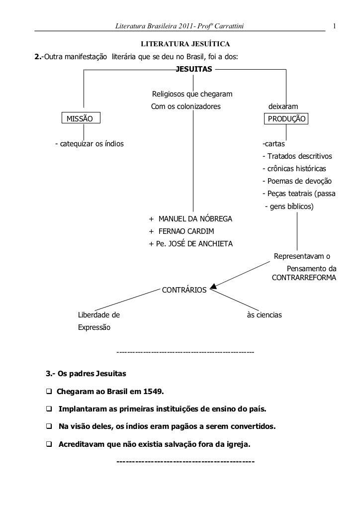 Literatura Brasileira 2011- Profª Carrattini                                    1                                  LITERAT...