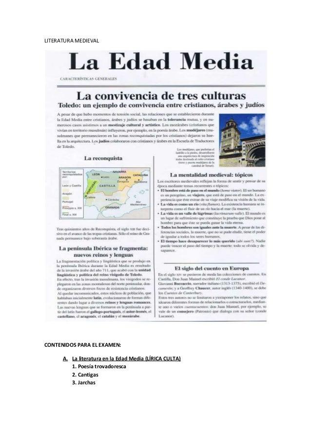 LITERATURA MEDIEVAL CONTENIDOS PARA EL EXAMEN: A. La literatura en la Edad Media (LÍRICA CULTA) 1. Poesía trovadoresca 2. ...
