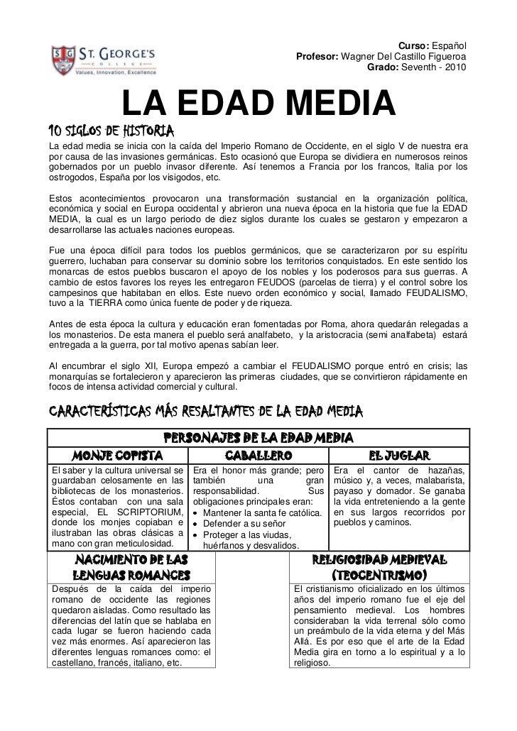 952580010Curso: EspañolProfesor: Wagner Del Castillo FigueroaGrado: Seventh - 2010<br />LA EDAD MEDIA<br />10 SIGLOS DE HI...