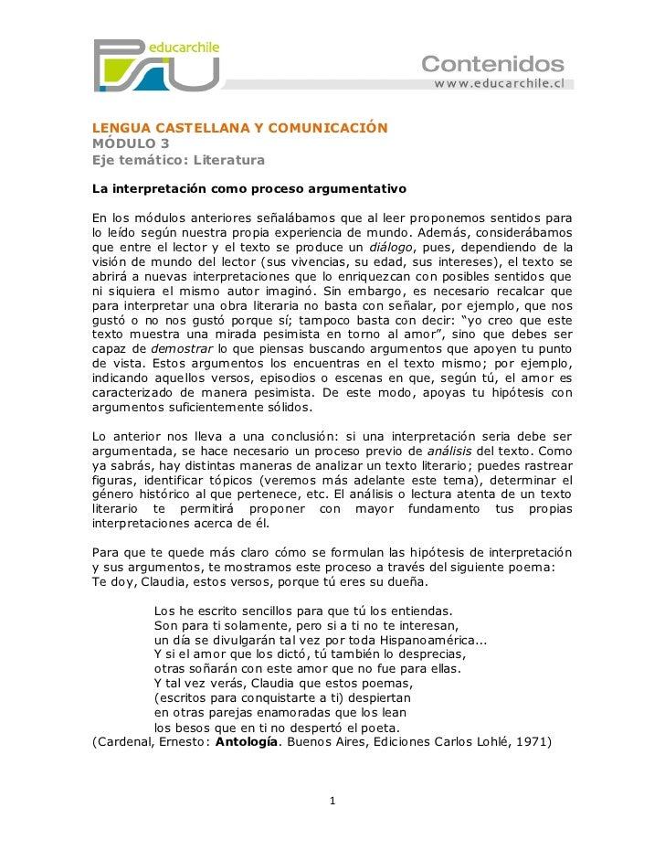 LENGUA CASTELLANA Y COMUNICACIÓNMÓDULO 3Eje temático: LiteraturaLa interpretación como proceso argumentativoEn los módulos...