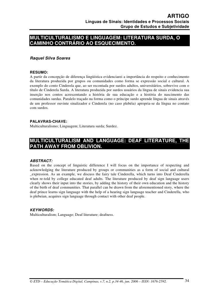 ARTIGO                                      Línguas de Sinais: Identidades e Processos Sociais                            ...