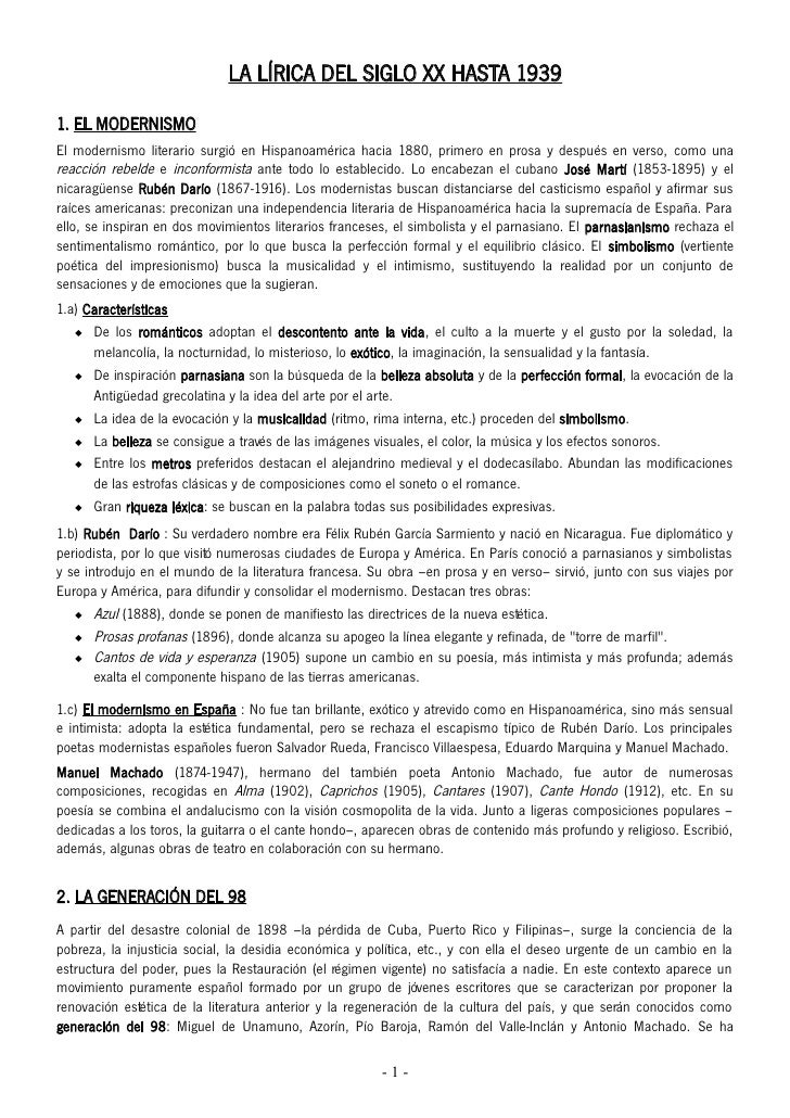 LA LÍRICA DEL SIGLO XX HASTA 19391. EL MODERNISMOEl modernismo literario surgió en Hispanoamérica hacia 1880, primero en p...