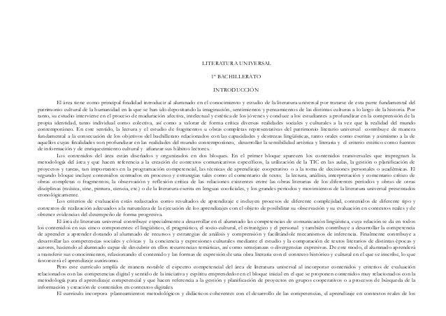 LITERATURA UNIVERSAL 1º BACHILLERATO INTRODUCCIÓN El área tiene como principal finalidad introducir al alumnado en el cono...