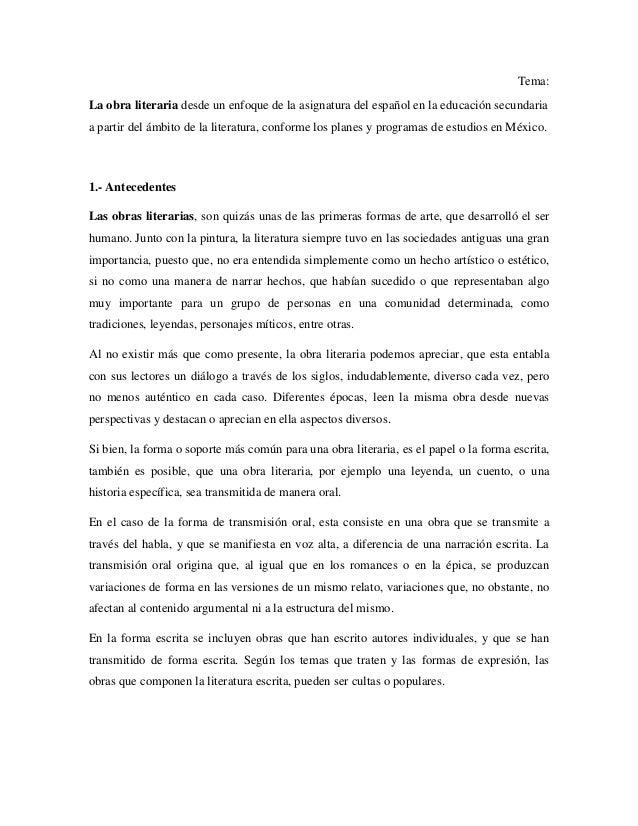 Tema: La obra literaria desde un enfoque de la asignatura del español en la educación secundaria a partir del ámbito de la...