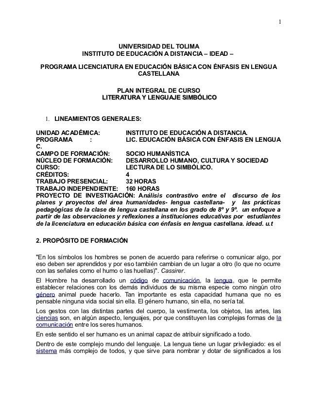 1                            UNIVERSIDAD DEL TOLIMA                 INSTITUTO DE EDUCACIÓN A DISTANCIA – IDEAD – PROGRAMA ...