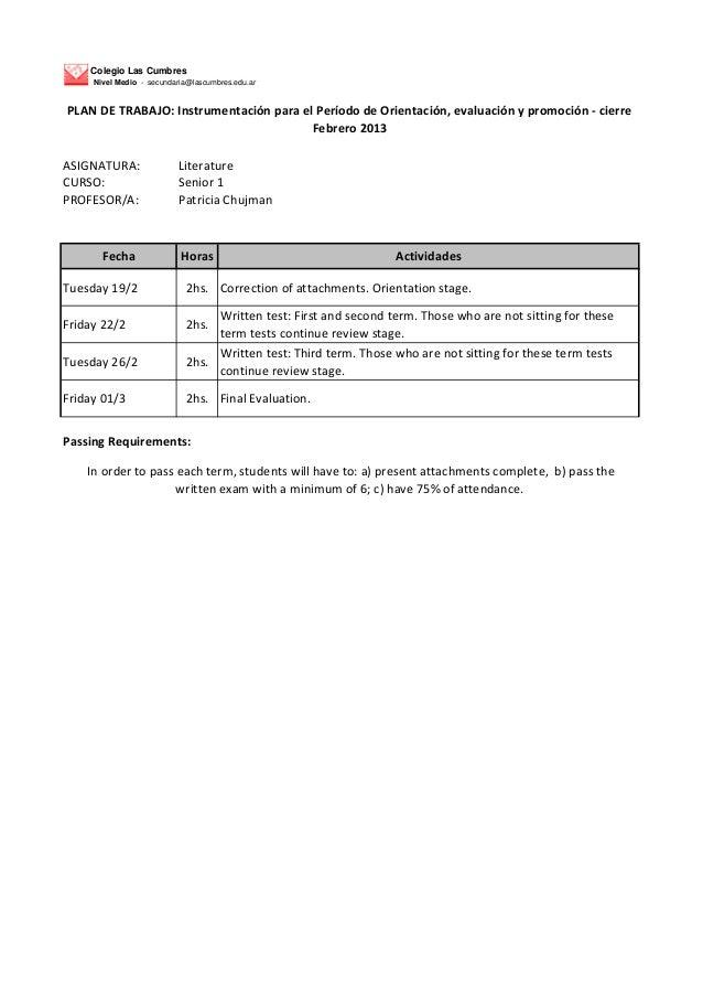 Colegio Las Cumbres     Nivel Medio - secundaria@lascumbres.edu.arPLAN DE TRABAJO: Instrumentación para el Período de Orie...
