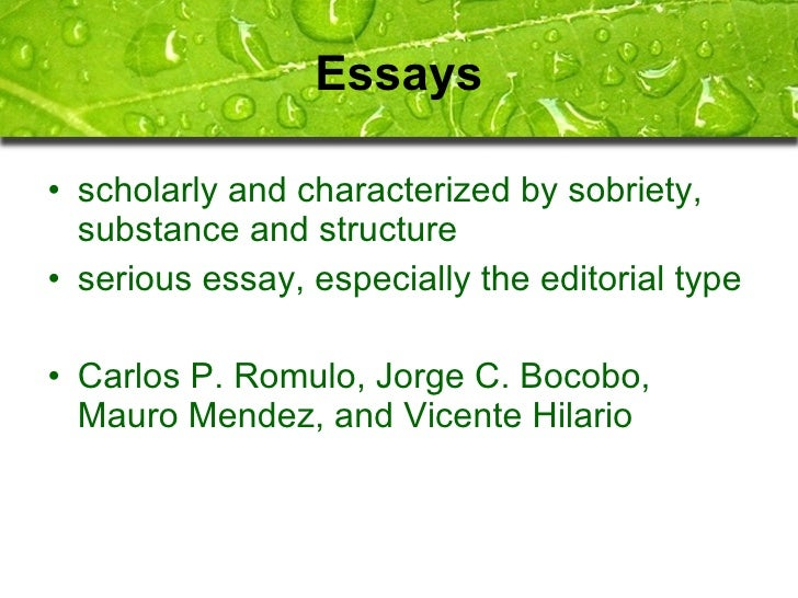 essay of salvador p. lopez Literature and society essay by salvador p lopez the essay: as in poetry and the short story, the essay grew in many ways: in variety of subject, form, and style in.