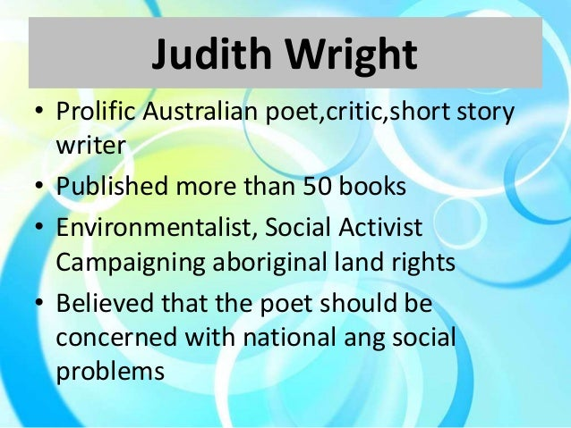 judith wright woman to man analysis