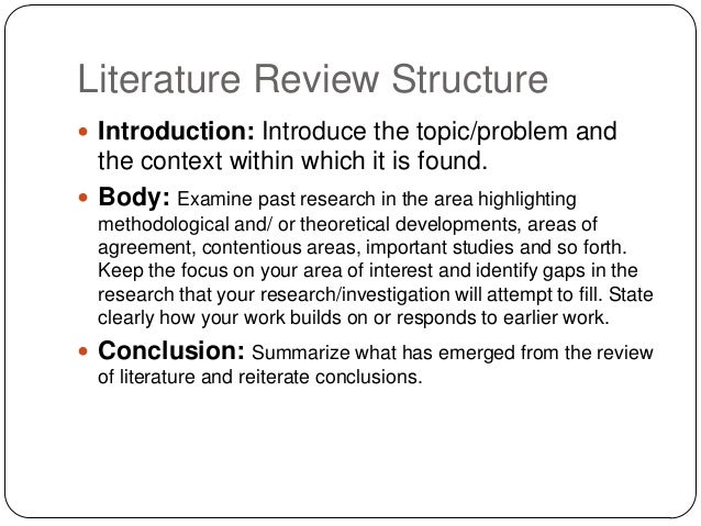 an introduction to the review of literature Way of increasing the readability of your text is to write a well written and  thorough literature review as the introduction to your paper this ensures that the  reader.