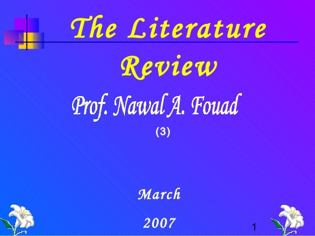 The Literature Review (3)  March 2007  1