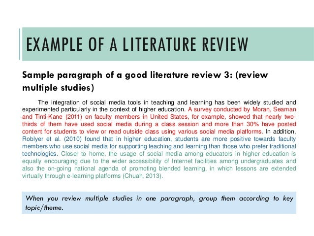 samples of literature review