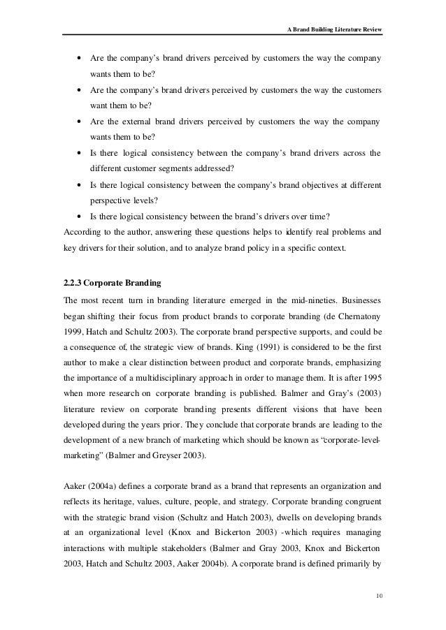 literature review branding