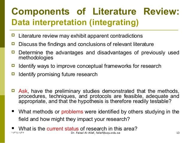Characteristics of exemplary literature reviews