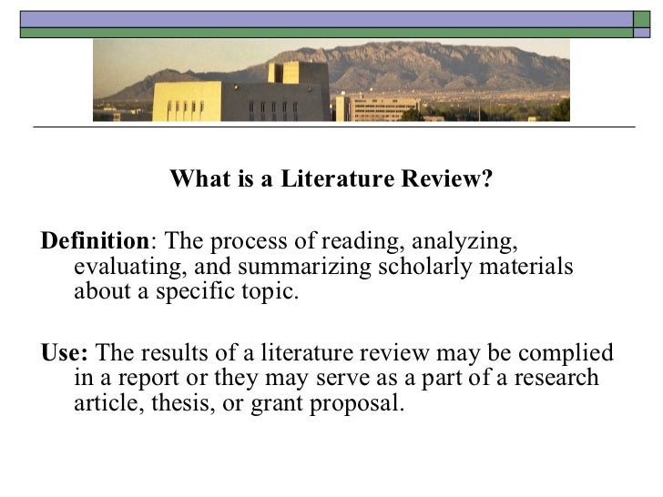usefulness of a literature review