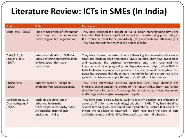 literature review on information technology relating to small and medium scale enterprises Health and social care information systems and technologies  research of the  impact of saas business applications adoption in smes firm  the objective of  this study is to provide an updated review of the most relevant literature which.