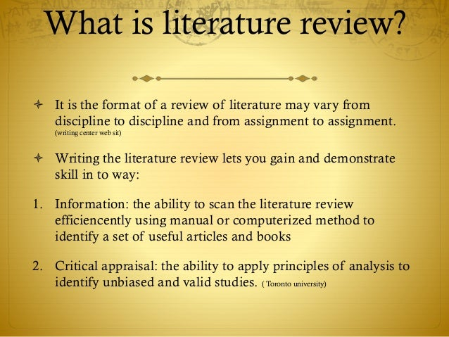 review of literature format