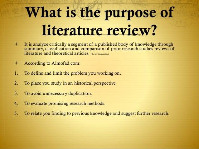 purpose of literature review wikipedia