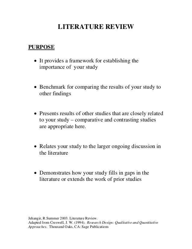 literature review guide literature review purpose • it provides a framework for establishing the importance of your study