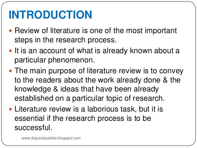 purposes and benefits of literature review