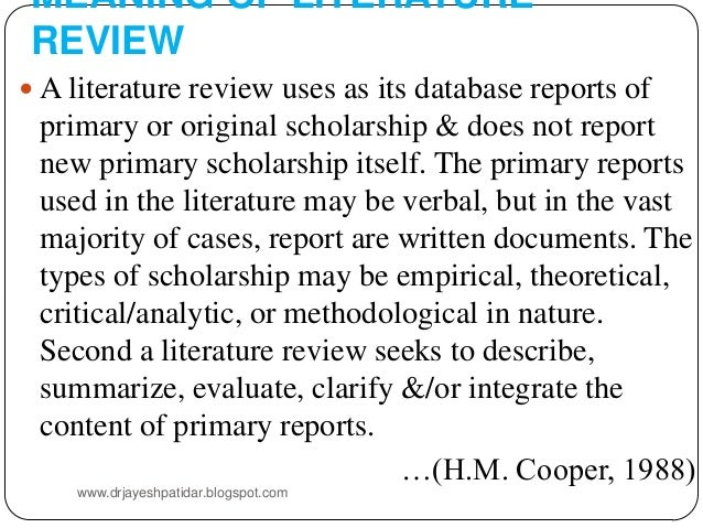 what does the review of literature mean