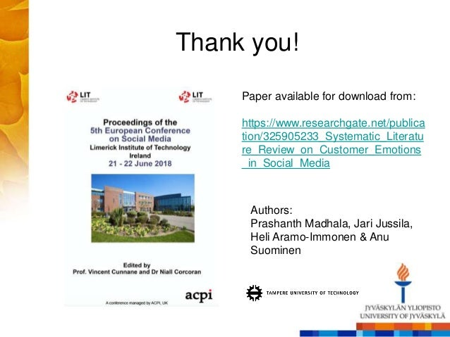 Thank you! Paper available for download from: https://www.researchgate.net/publica tion/325905233_Systematic_Literatu re_R...