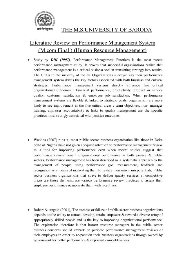 literature review on performance appraisal in organizations Systematic assessment of how well employees are performing their jobs in  relation to  study of effect of performance appraisal on the organization and.