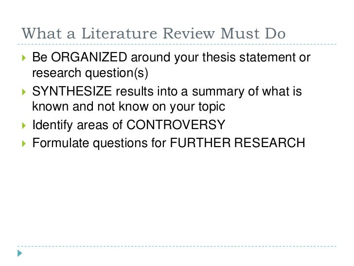write literature review thesis Guidelines for writing a literature review  by helen mongan-rallis cite all relevant references in the review section of thesis, dissertation, or journal article.