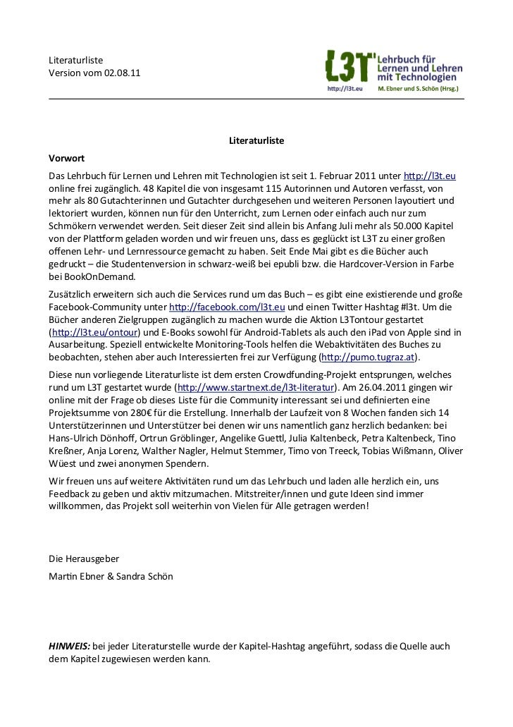 LiteraturlisteVersion vom 02.08.11                                                               LiteraturlisteVorwort...