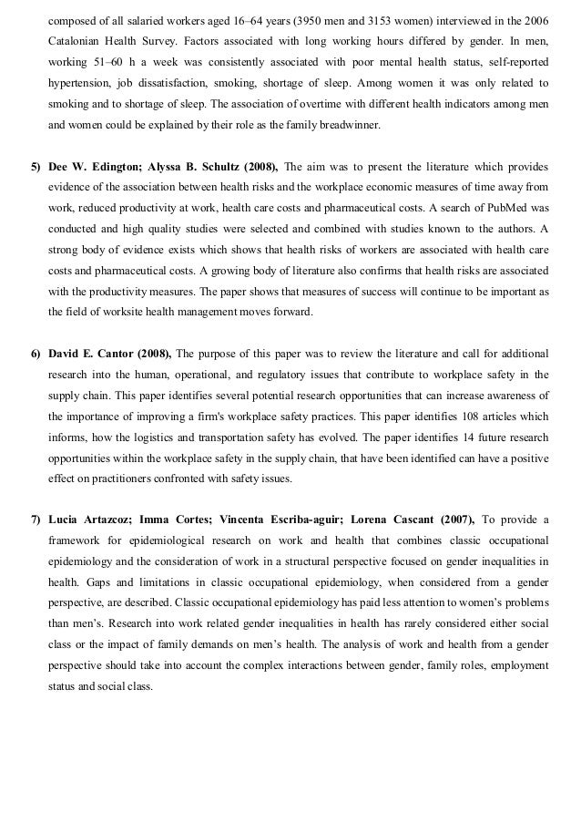 literature review on health safety and welfare of employees