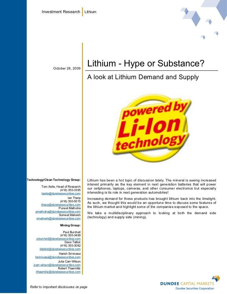 Investment Research             Lithium                  October 28, 2009                                          Lithium...