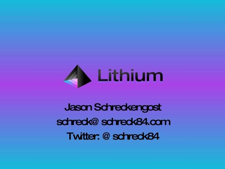 Jason Schreckengost [email_address] Twitter: @schreck84