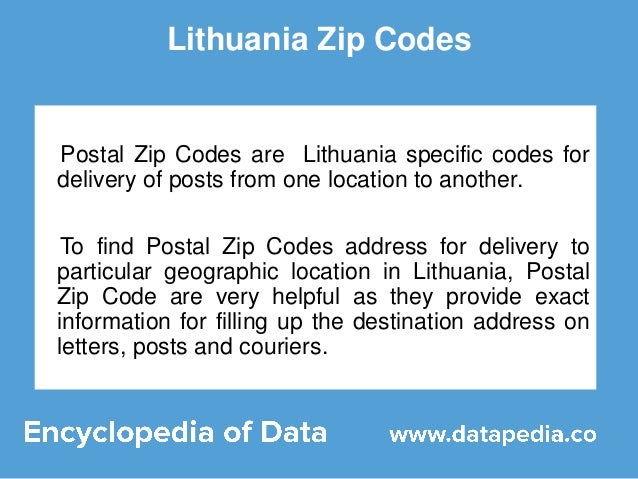 Browse here to find Lithuania Postal Codes
