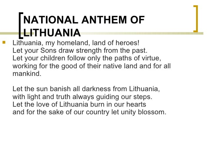 Lithuanian Symbols And Topics Flag Anthem