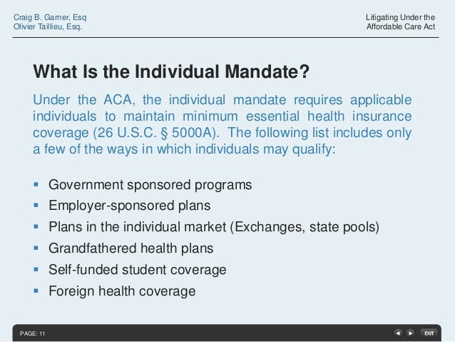 Litigating under the affordable care act - Minimum essential coverage plan design ...