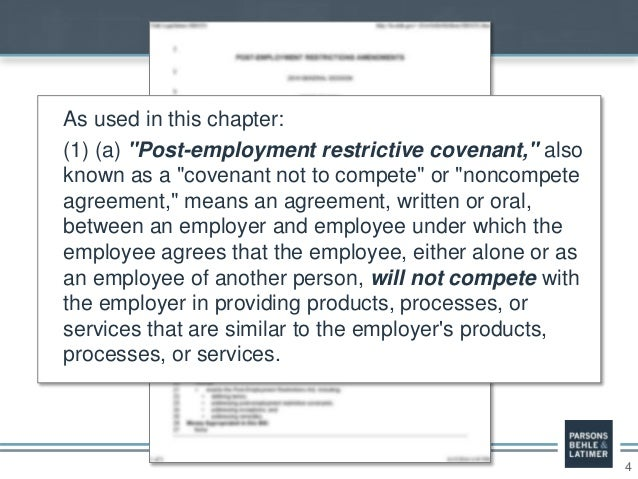 """4 As used in this chapter: (1) (a) """"Post-employment restrictive covenant,"""" also known as a """"covenant not to compete"""" or """"n..."""