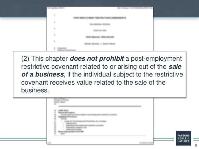 8 (2) This chapter does not prohibit a post-employment restrictive covenant related to or arising out of the sale of a bus...