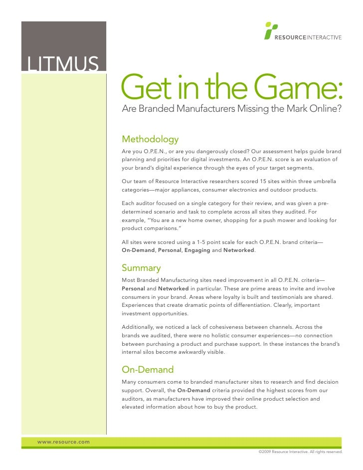 LITMUS                    Get in the Game:                    Are Branded Manufacturers Missing the Mark Online?          ...
