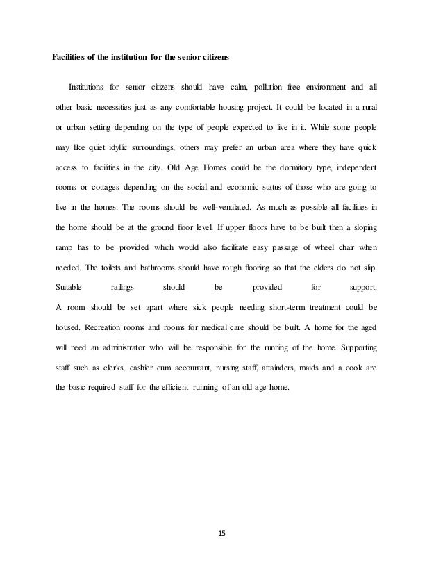 Old age home project document